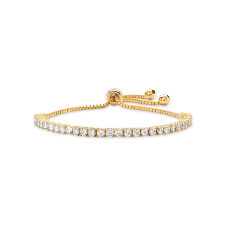 3 TCW Round White Cubic Zirconia Adjustable Drawstring Strand Bracelet 14k Gold-Plated 10""