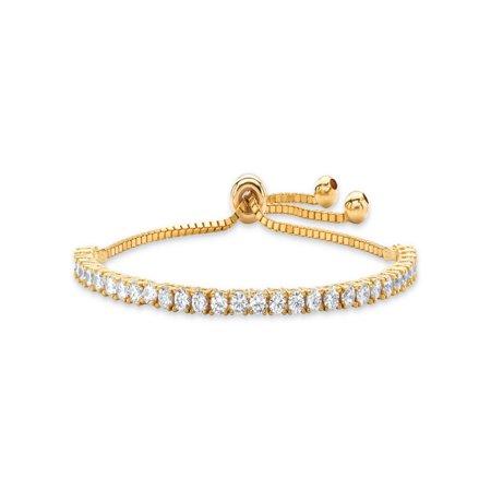 3 Strands Stretch Bracelet - 3 TCW Round White Cubic Zirconia Adjustable Drawstring Strand Bracelet 14k Gold-Plated 10