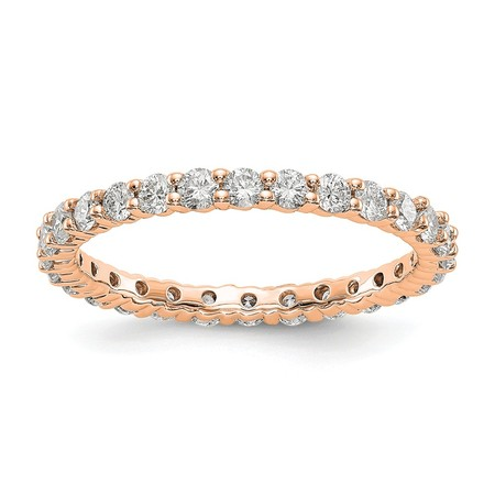 14k Rose Gold Lab Grown Diamond SI1/SI2, G-H shared Prong Eternity Wedding Band Ring