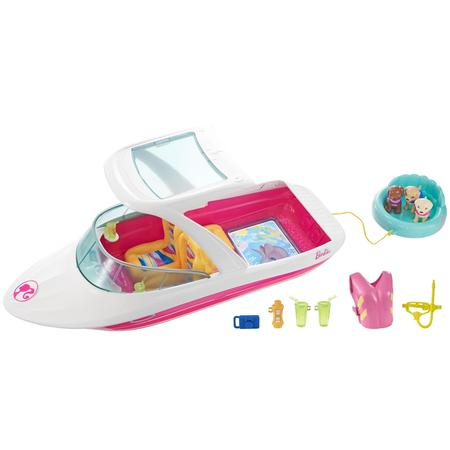 Barbie Dolphin Magic Ocean View Boat with 3-Puppies & Accessories (Barbie Fabric)