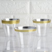 BalsaCircle Clear with Gold Rim 25 pcs 9 oz Disposable Plastic Tumbler Cups - Wedding Reception Party Buffet Catering Tableware