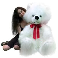 American Made Giant White Teddy Bear Long Fur Soft Valentines Day Stuffed Animal