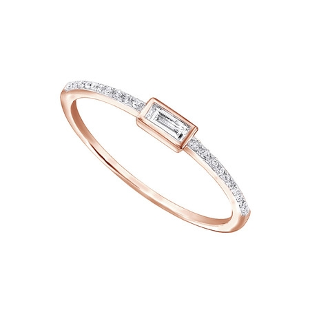 Baguette Round Cut Diamond (1/10Ct Real Baguette Cut And Round Cut Diamond 10k Rose Gold Engagement Wedding Stackable Band)
