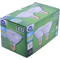 Great Value LED Indoor Floodlight Light Bulbs, 7W (50W Equivalent), Soft White, Dimmable, 2 Count