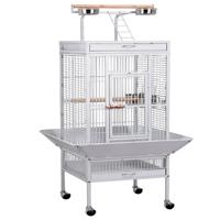 61'' White Rolling Metal Bird Cage w/ Playtop for Cockatiel, Lovebird & Parrot