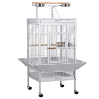 61'' White Rolling Metal Bird Cage w/ Playtop for Cockatiel, Lovebird & Parrot