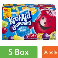 (5 Pack) Kool-Aid Jammers Tropical Punch Ready-to-Drink Soft Drink, 10 - 6 fl oz Packets
