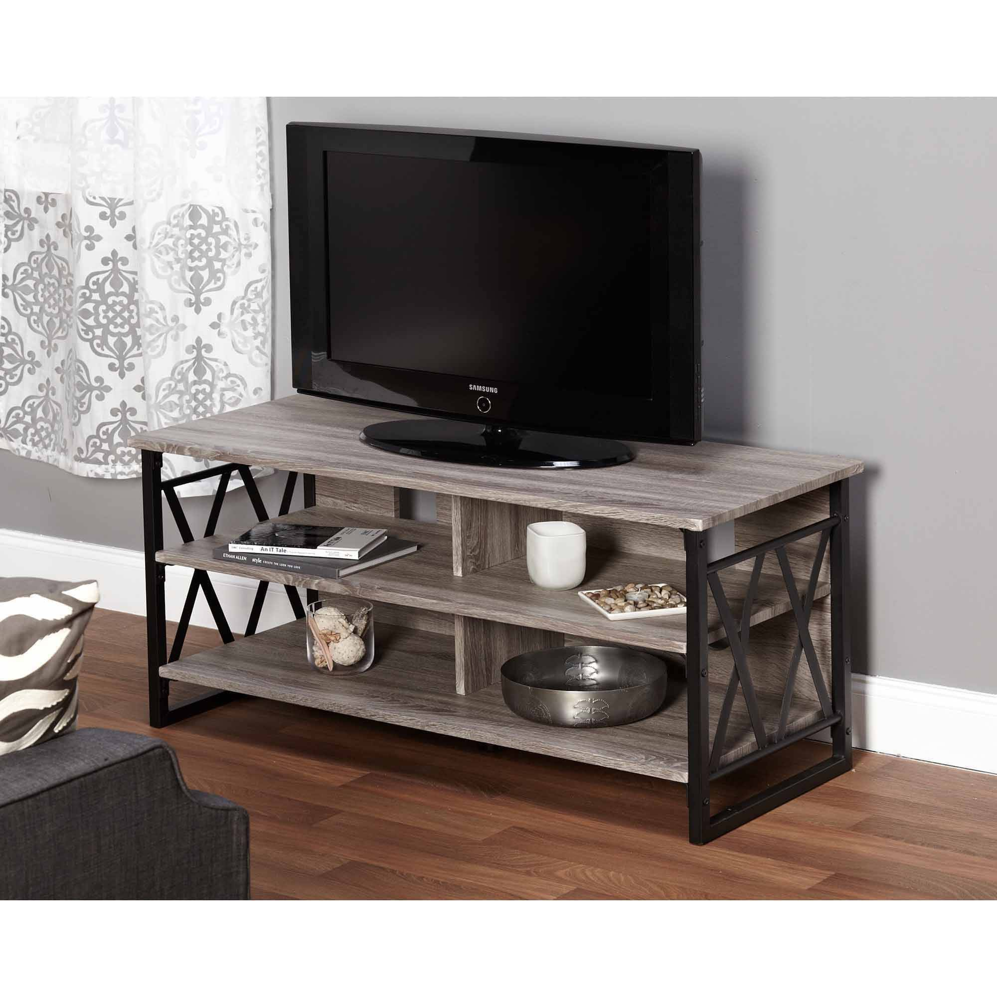 Rustic Entertainment Centers Tv Stands Home Garden Rustic Wood Metal Entertainment Center Media Storage Tv Stand Grey Brown Topografiapv Cl