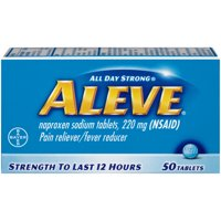 Aleve Pain Reliever/Fever Reducer Naproxen Sodium Tablets, 220 mg, 50 Ct