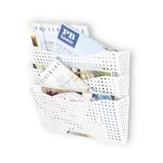 Wall Mount File Organizer - Sturdy Modular Design with 3 Storage Folders – Magazine Holder The Easy Way to Sort and Organize all Your Papers , White