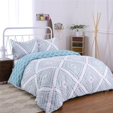 3-Piece Printed Duvet Cover Set ,Duvet Cover And Two Pillow Shams Queen Size 90 x 90 inches