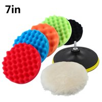 Ejoyous 7  Polishing Sponge Waxing Buffing Pad Compound Auto Car Polisher Drill Kit 30mm