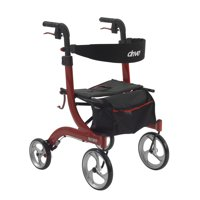 Drive Medical Nitro Euro Style Rollator Rolling Walker, Red