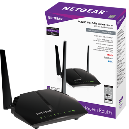 NETGEAR AC1200 (8x4) WiFi Cable Modem Router Combo C6220, DOCSIS 3.0 | Certified for XFINITY by Comcast, Spectrum, Cox, and more (C6220-100NAS) ()