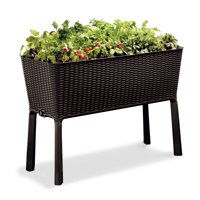 Keter Resin Elevated Garden, All Weather, Self-Watering Plastic Planter, Brown Rattan