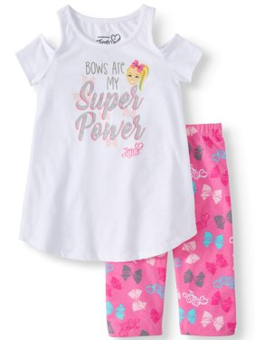 JoJo Cold Shoulder Tee and Capri Legging, 2-Piece Outfit Set (Little Girls & Big Girls)