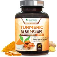 Turmeric Curcumin with Ginger 95% Curcuminoids 1950mg with Bioperine Black Pepper for Best Absorption, Anti-Inflammatory Joint Relief, Turmeric Supplement Pills by Natures Nutrition -  120 Capsules