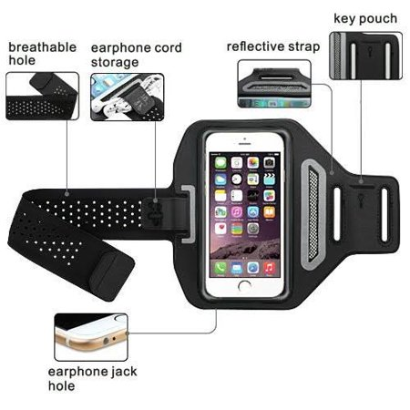 Samsung Galaxy S9 Plus/S8 Plus/Note 9/Note8 Active Sports Armband Universal Sport Running Armband Pouch For Workout + Key Holder - Black ()