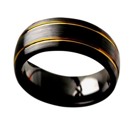 Men Women Ceramic Wedding Band Ring 8mm Brushed Finish with 2 Gold Tone Grooves Black Ring