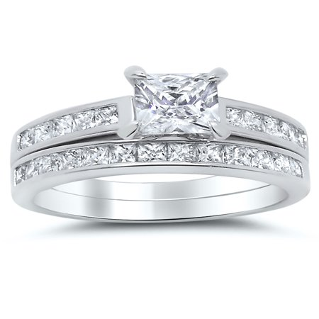 Cut Bridal Ring Set (Sterling Silver Princess Cut Bridal Set Engagement Wedding Ring Set (Size 9))