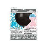 Big Latex Gender Reveal Confetti Balloon, 24 in, Black, 1ct