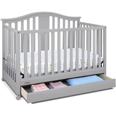 - Graco Solano 4 in 1 Convertible Crib with Drawer Pebble Gray