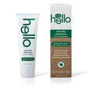 Hello Naturally Whitening Fluoride Toothpaste, Vegan & SLS Free, Farm Grown Mint With Tea Tree Oil & Coconut Oil 4.7oz