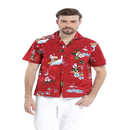Hawaiian Christmas (Hawaii Hangover Men's Hawaiian Shirt Aloha Shirt Christmas Shirt Santa)