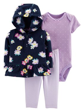 Hooded Peplum Cardigan, Short Sleeve Bodysuit & Pants, 3-Piece Outfit Set (Baby Girls)