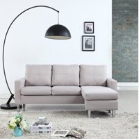 Modern Reversible Small Space Configurable Linen Sectional Sofa