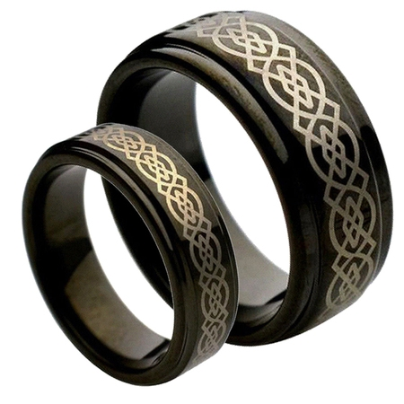 Diamond Set Celtic Ring - His & Her's 8MM & 6MM Black Tungsten Carbide Wedding Band Ring Set w/Laser Etched Celtic Design