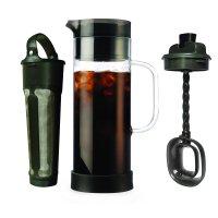 Primula Cold Brew 1.6 Qt. Temperature Safe Borosilicate Glass Carafe Coffee Maker with Brew Core and Flavor Mixer - Smokey Grey