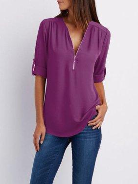 Funcee Plus Size Women Zipper V Neck Blouse Loose Chiffon Long Sleeve Tops