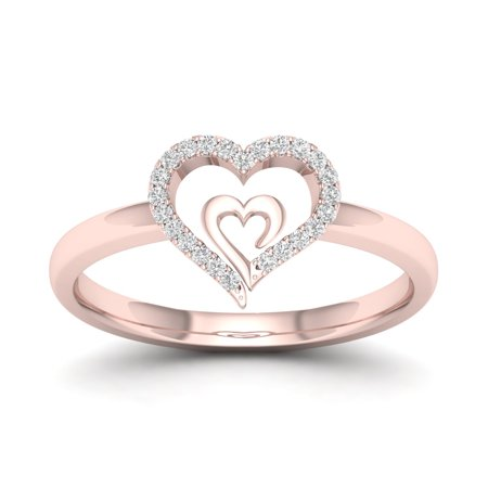1/10Ct TDW Diamond 10k Rose Gold Heart in Heart Fashion Ring (Tiffany Rose Ring)
