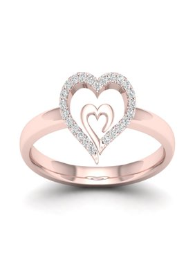Imperial 1/10Ct TDW Diamond 10k Rose Gold Heart in Heart Fashion Ring