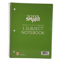 School Smart Spiral Non-Perforated 1 Subject College Ruled Notebook, 8-1/2 x 11 Inches