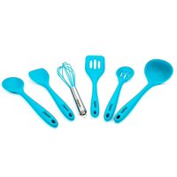 Premium Kitchen Utensil Set. Quality Silicone Cooking Set of 6. Hygienic, Durable, Non-stick, and High Temp