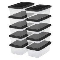 Sterilite Set of 10 - 6 Quart Storage Box, Black