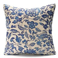 Meigar Vintage Couch Cushion Pillow Cover 18x18 Inches Square Zippered Cotton Linen Standard Decorative Throw Pillow Covers Case Slip Protector for Chair Seat Sofa Patio,A color
