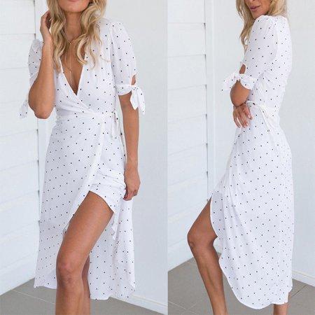 Womens Boho Floral Short Sleeve Summer Dot V-neck Sexy White Beach Dress ()