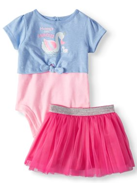 2fer Tie Front Bodysuit, Tutu, 2pc Outfit Set (Baby Girls)