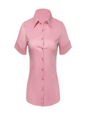 Button Down Shirts for Women, Fitted Short Sleeve Tailored Stretchy Material (XSmall, Pink)