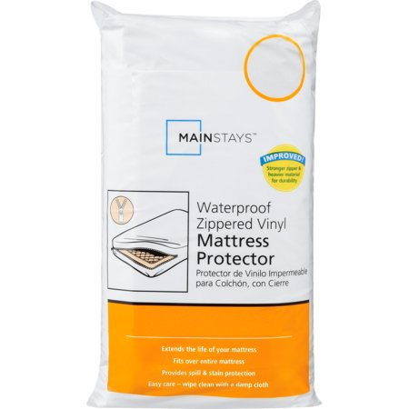 Mainstays Waterproof Zippered Vinyl Mattress Protector, 1 (Best Epic Mattress Protector Twin Sizes)