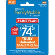 Walmart Family Mobile $74.76 TRULY Unlimited 2-line Plan w 5GB of Mobile Hotspot per line (Email Delivery)