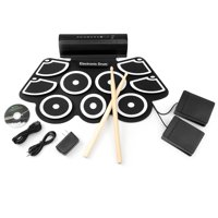 Best Choice Products Roll-Up Foldable Electronic Full Drum Kit Set w/ USB MIDI, Built-In Speakers, Foot Pedals, Drumsticks - Black
