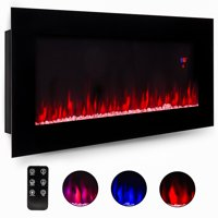 Best Choice Products 50in Electric Wall Mounted Smokeless Ventless Fireplace Heater w/ Adjustable Heat, Remote Control - Black