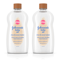 (2 pack) Johnson's Baby Oil with Shea & Cocoa Butter, 20 fl. oz