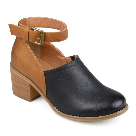 Womens Faux Leather Wood Stacked Heel Ankle Strap Clogs