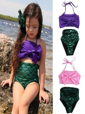 Kids Girls Mermaid Bikini Set Swimmable Swimming Princess Costume Swimsuit 2-14Y