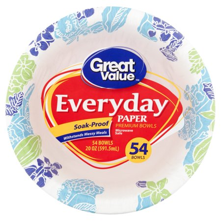 Great Value Everyday Paper Bowls, 20 oz, 54 (White Laminated Foam Bowl)